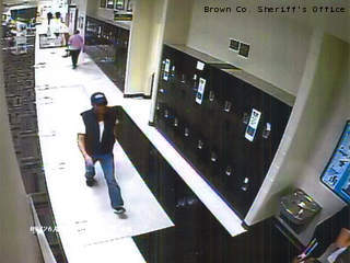 This surveillance image shows a man believed to be involved in a string of thefts from Brown County health club locker rooms.