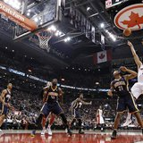 Toronto Raptors Andrea Bargnani puts up a shot over Indiana Pacers David West (21) during the first half of their NBA basketball game in Tor