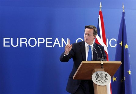 Britain's Prime Minister David Cameron holds a news conference at the end of a European Union leaders summit in Brussels October 19, 2012. R