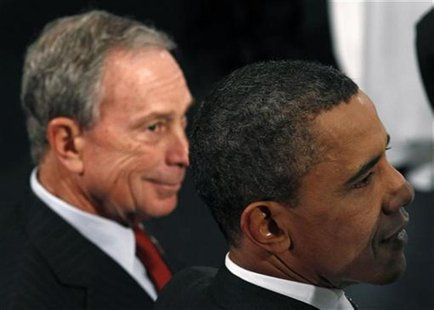 U.S. President Barack Obama and New York Mayor Michael Bloomberg attend the New York City Science and Engineering Fair at the American Museu