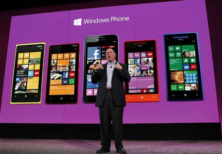 Microsoft CEO Steve Ballmer speaks during the launch of Windows Phone 8 in San Francisco, California October 29, 2012. REUTERS/Robert Galbra