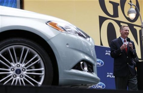 Alan Mulally, President and CEO of Ford Motor Company attends a launch event for the New 2013 Ford Fusion Hybrid car in New York's Times Squ