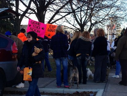 March for Mary participants 10/31/12 at Marathon County Courthouse, Wausau WI supporting tougher animal cruelty laws and full prosecution of the suspect accused of poisoning and stabbing Mary, a labrador-shepherd mix.