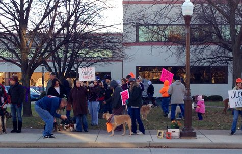 "About 100 people supporting ""Mary"" the dog that died of abuse supporting tougher animal cruelty laws and full prosecution of the suspect at the Marathon County Courthouse, Wausau WI  10/31/12"