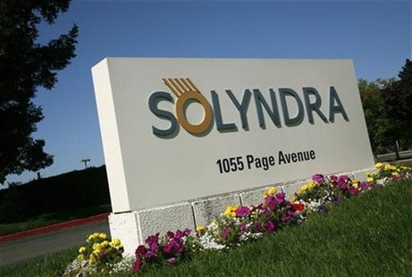 A sign at the entrance to the headquarters of bankrupt Solyndra LLC is shown in Fremont, California September 20, 2011. REUTERS/Robert Galbr
