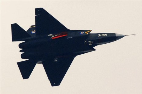 "A ""Guying"" stealth fighter participates in a test flight in Shenyang, Liaoning province, October 31, 2012. REUTERS/Stringer"