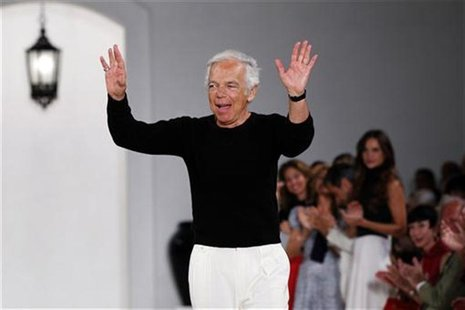 Designer Ralph Lauren waves after presenting his Spring/Summer 2013 collection during New York Fashion Week, September 13, 2012. REUTERS/Luc