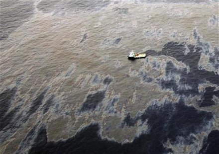 An aerial view shows oil that seeped from a well operated by Chevron at Frade, on the waters in Campos Basin in Rio de Janeiro state Novembe