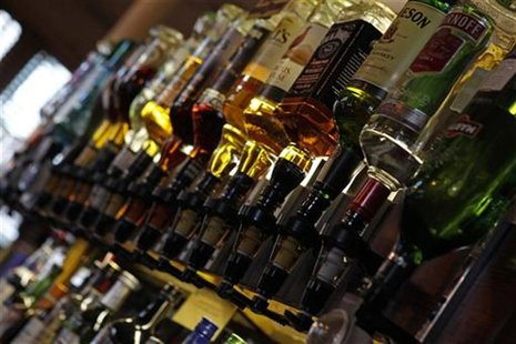 Bottles of alcohol are seen at The Lord Cardigan pub in east London January 26, 2012. The pub is within a mile of the Olympic Park where the