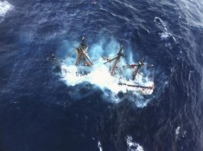 The HMS Bounty, a 180-foot sailboat, is shown submerged in the Atlantic Ocean during Hurricane Sandy approximately 90 miles southeast of Hat