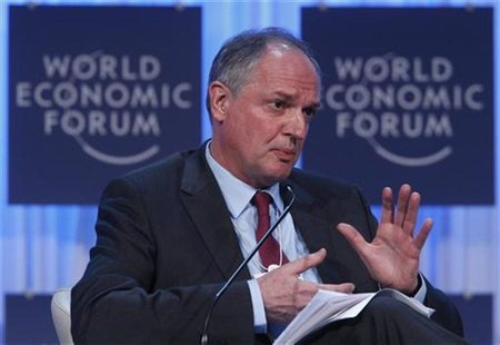 Paul Polman, Chief Executive Officer, Unilever, of Britain, attends a session at the World Economic Forum (WEF) in Davos, January 26, 2012.