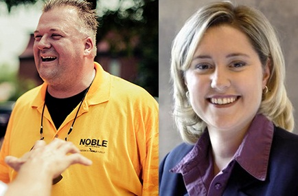 Republican Scott Noble (left) and Democrat Julie Lassa (right) face each other in the 24th District State Senate race