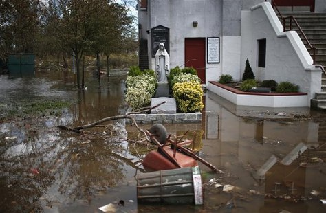 Flood waters left by storm surge from Hurricane Sandy surround Our Lady of Lourdes Church on the south side of hard-hit Staten Island in New