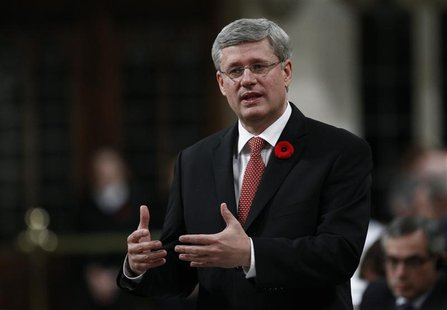 Canada's Prime Minister Stephen Harper speaks during Question Period in the House of Commons on Parliament Hill in Ottawa November 1, 2012.