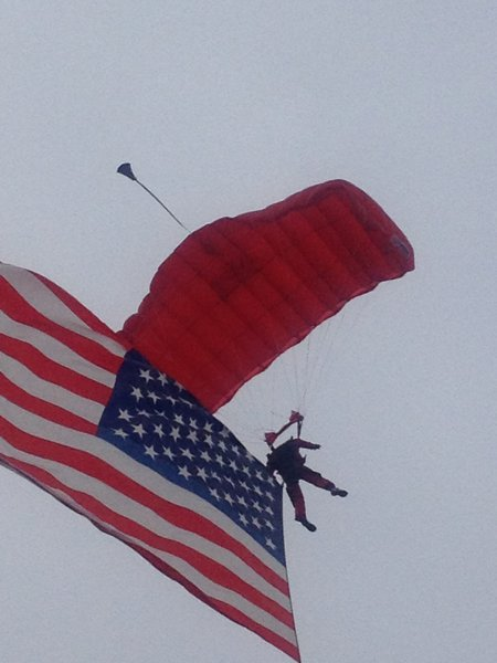 Skydivers deliver the game ball to Kelly/Shorts Stadium. WMU @ CMU 11/3/12