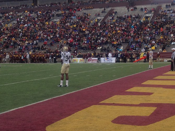 Donald Celiscar waits for the Chippewa kickoff. WMU @ CMU 11/3/12