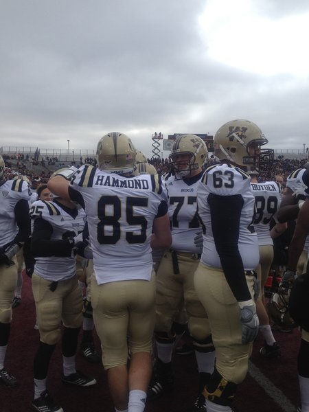 Blake Hammond celebrates on the sidelines with his teammates. WMU @ CMU 11/3/12