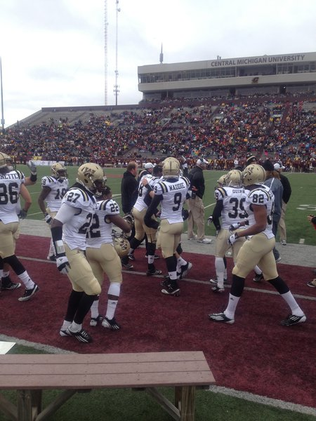 The Broncos celebrate another score on the sidelines. WMU @ CMU 11/3/12