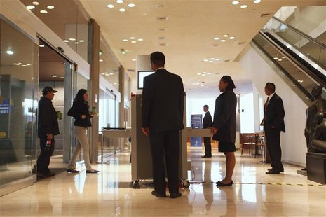 Security agents are seen inside of Hyatt hotel in Mexico City November 3, 2012. REUTERS/Edgard Garrido