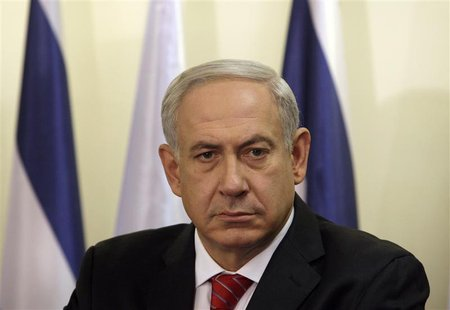 Israel's Prime Minister Benjamin Netanyahu pauses during the delivery of joint statements with Bulgaria's President Rosen Plevneliev (not pi