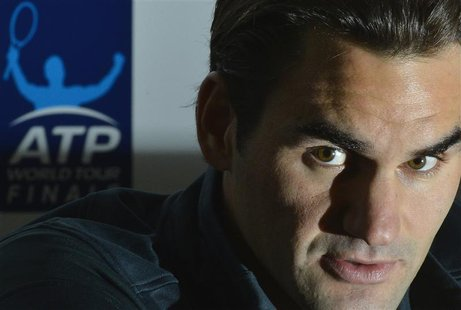 Roger Federer of Switzerland speaks at a news conference ahead of the ATP tennis finals at the O2 Arena in London November 4, 2012. REUTERS/