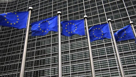 European Union flags fly in front of the European Commission headquarters in Brussels October 12, 2012. REUTERS/Yves Herman