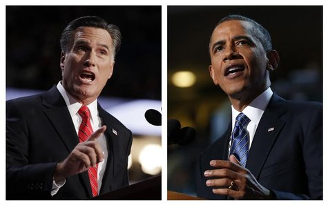 A combination file photos show Republican presidential nominee Mitt Romney (L) and U.S. President Barack Obama speaking at the Republican Na