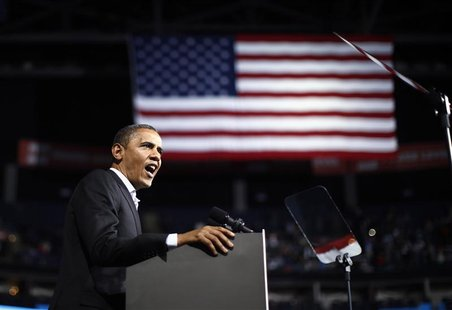 U.S. President Barack Obama speaks at an election campaign rally in Columbus, Ohio, November 5, 2012, on the eve of the U.S. presidential el