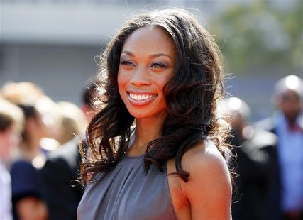 London 2012 Olympics gold medallist runner Allyson Felix arrives at the 2012 Primetime Creative Arts Emmy Awards in Los Angeles September 15