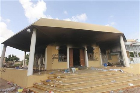 An exterior view of the U.S. consulate, which was attacked and set on fire by gunmen yesterday, in Benghazi September 12, 2012. REUTERS/Esam