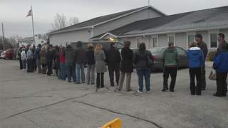Voters in the Brown County Town of Ledgeview wait outside to cast ballots on Tuesday November 6, 2012. (courtesy of FOX 11).