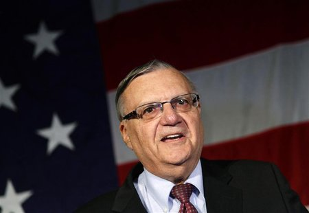 Maricopa County Sheriff Joe Arpaio speaks during the Republican Party election night event in Phoenix, Arizona November 6, 2012. REUTERS/Jos