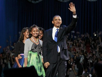 REFILING CORRECTING DATE U.S. President Barack Obama and his family walk onstage during his election night victory rally in Chicago, Novembe