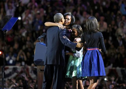 U.S. President Barack Obama is hugged by first lady Michelle Obama and his daughters Sasha and Malia (R) before his victory speech at his el