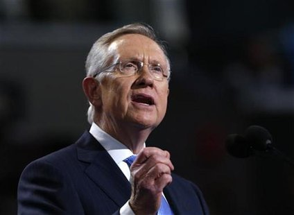 House Majority Leader Harry Reid (D-NV) addresses delegates during first day of the Democratic National Convention in Charlotte, North Carol