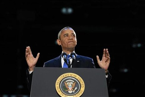 U.S. President Barack Obama speaks during his election night victory rally in Chicago, November 7, 2012. REUTERS/Jason Reed