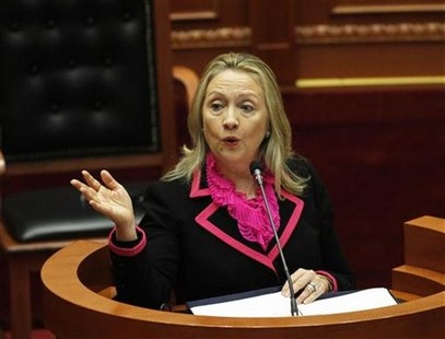 U.S. Secretary of State Hillary Clinton speaks in the Albanian Parliament during her official visit in Tirana November 1, 2012. REUTERS/Arbe