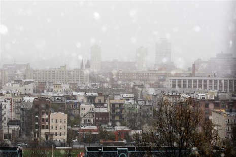 A general view of hoboken partially covered by fog and snow during a Nor'easter, also known as a northeaster storm, in Hoboken, New Jersey,
