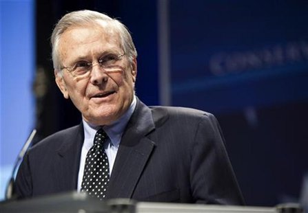 Former Secretary of Defence Donald Rumsfeld speaks during the 38th annual Conservative Political Action Conference (CPAC) in Washington in t