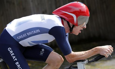 Britain's Bradley Wiggins competes in the men's individual time trial cycling event at the London 2012 Olympic Games August 1, 2012. REUTERS
