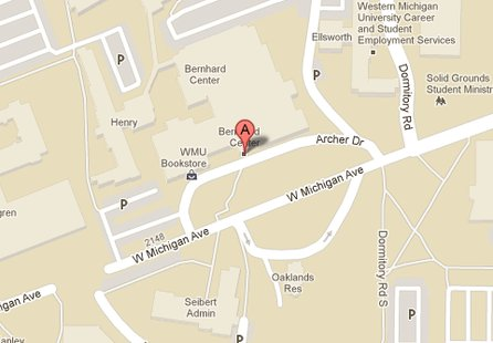 A Google Map shows the location of the Bernhard Center on the campus of Western Michigan University.