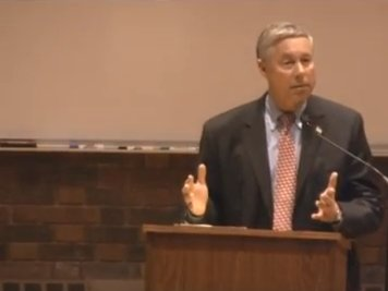Congressman Fred Upton speaks at a debate that led up to his re-election as the candidate for MIchigan's 6th district.