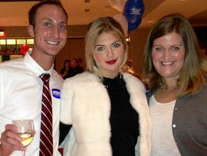 United States Congressman Fred Upton's niece Supermodel Kate Upton poses with Upton supporters at his election 2012 reception in St. Joseph on November 6th, 2012.
