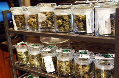 Several varieties of marijuana buds are displayed for sale at a medical marijuana center in Denver in this April 2, 2012 file photo. REUTERS