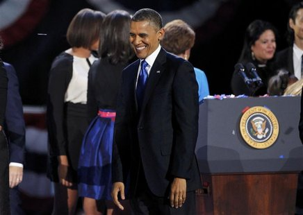 U.S. President Barack Obama smiles while celebrating his re-election during his election night rally in Chicago, Illinois November 7, 2012.