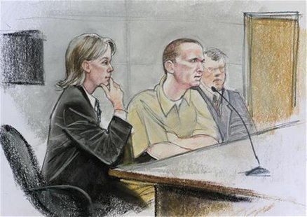 Jared Loughner (C) is shown in a courtroom sketch sitting with his attorney Judy Clark (L) during his hearing in federal court in Tucson, Ar