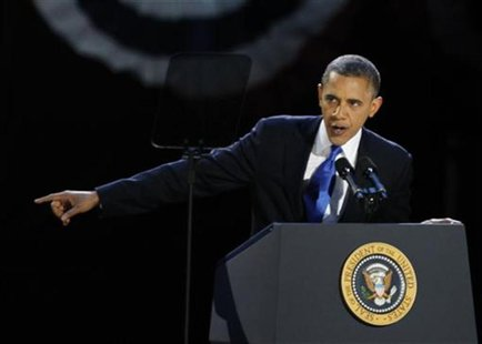 U.S. President Barack Obama addresses supporters at his election night victory rally in Chicago, November 7, 2012. REUTERS/Jim Bourg