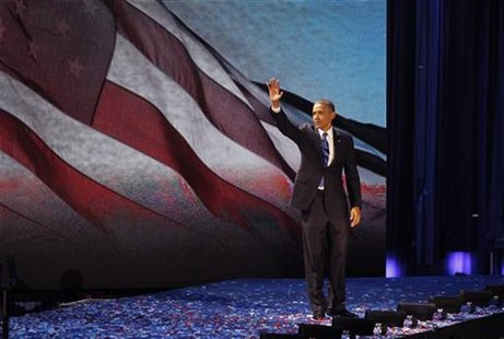 U.S. President Barack Obama celebrates after winning the U.S. presidential election in Chicago, Illinois, November 7, 2012. REUTERS/Jim Bour