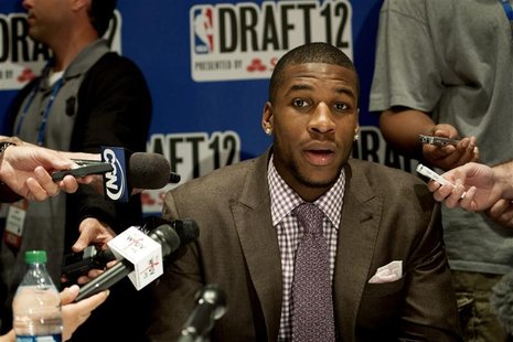 NBA prospect Thomas Robinson speaks during a news conference for prospective NBA draft picks in New York June 27, 2012. REUTERS/Keith Bedfor
