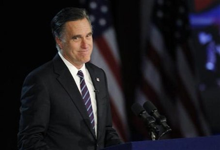 U.S. Republican presidential nominee Mitt Romney gives his concession speech after losing the election to U.S. President Barack Obama, at Ro